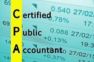 the words certified public accountant on a background of numbers and stocks